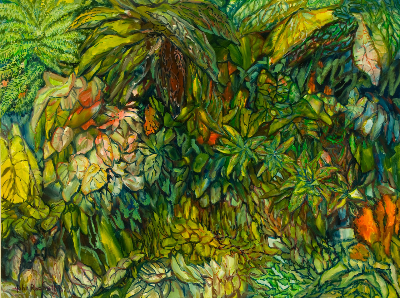 "©John Rachell Title: The Garden, July 18, 2007 Image Size: 48"" w by 36"" d Dated: 2007 Medium & Support: Oil paint on canvas Signed: LL Signature"