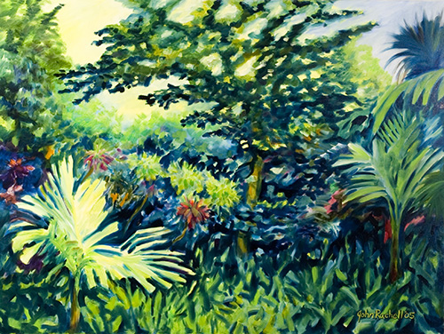 """©John Rachell Title:Garden Series, April 17, 2005 Image Size: 36""""d X 48""""w Dated: 2005 Medium & Support: Oil paint on canvas Signed: LR Signature"""