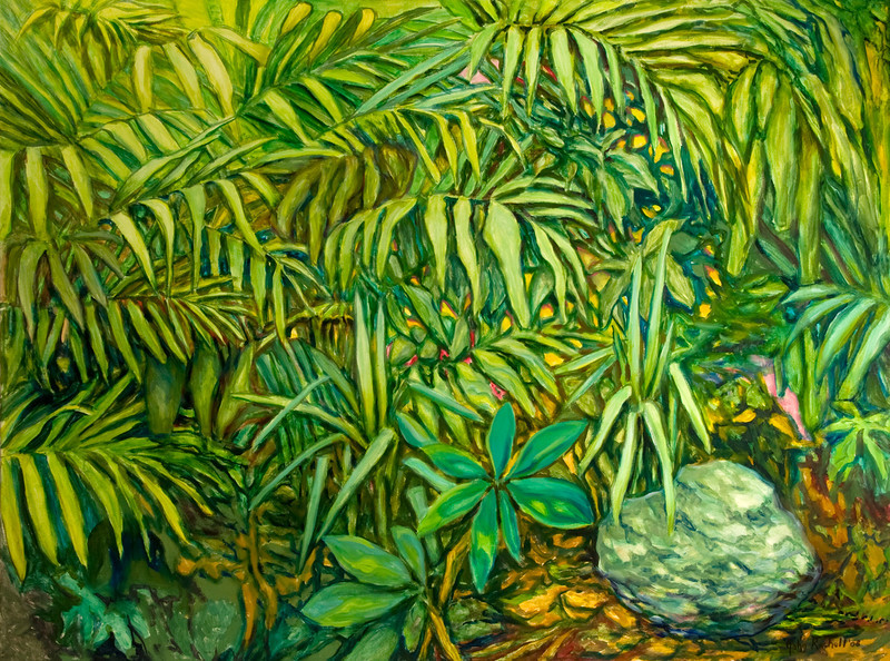 """© 2008 John Rachell Title: Garden, June 17, 2008 Image Size: 48"""" w by 36"""" d Dated: 2008 Medium and Support: Oils on Linen Signed: LR Signature"""