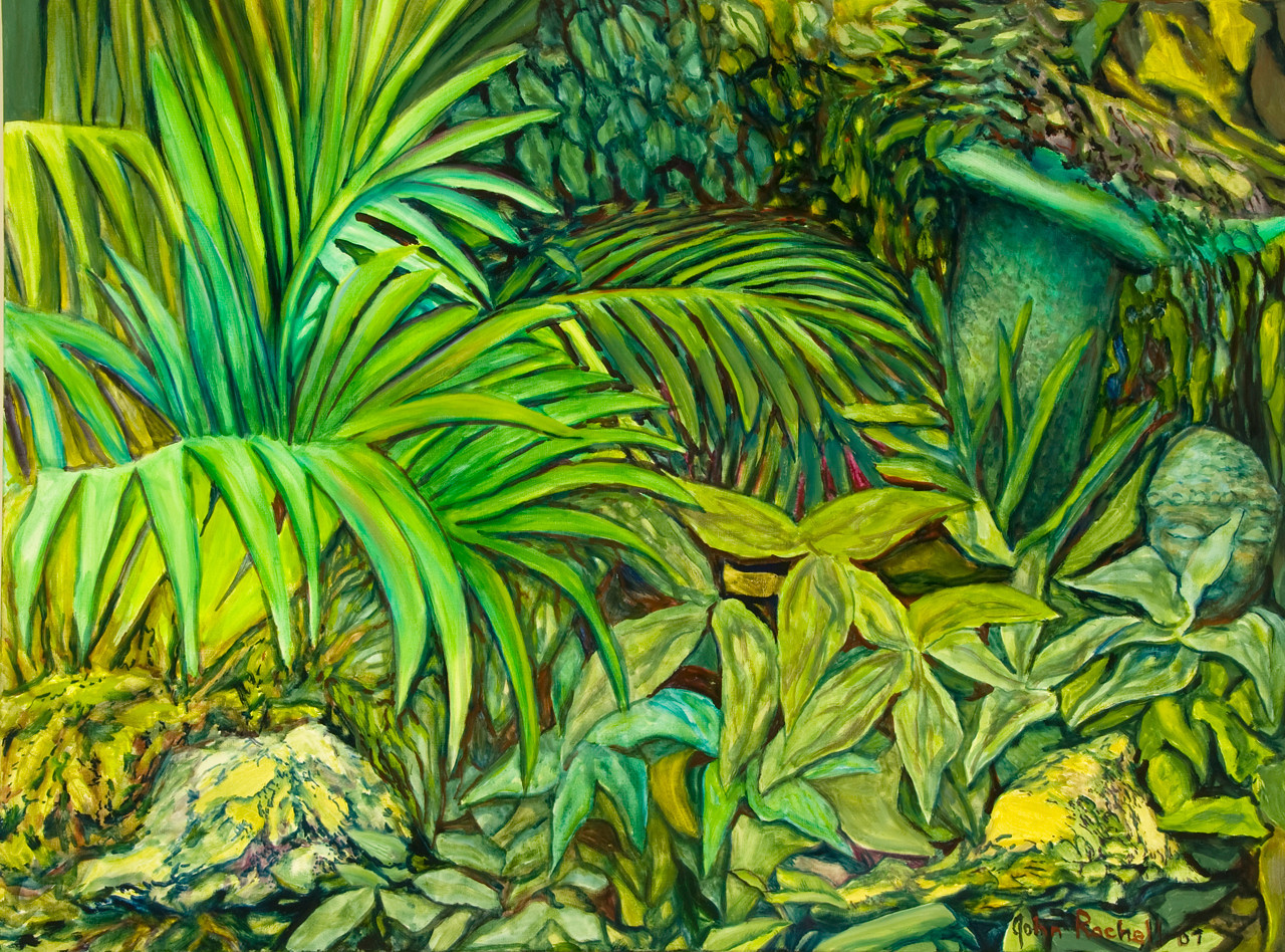 """©John Rachell Title: The Garden, June 29, 2007 Image Size: 40"""" w by 30"""" d Dated: 2007 Medium & Support: Oil paint on canvas Signed: LR Signature"""