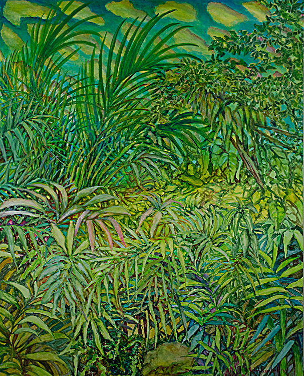 """© 2010 John Rachell Title:  Garden, January 14, 2010 Image Size:  48"""" w by 60"""" d Dated:  January 14, 2010 Medium & Support:  Oil on Canvas Signed: LR Signature"""