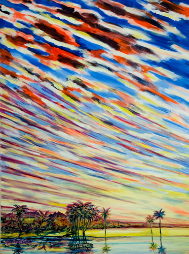 """©John Rachell  Title: Sky, August 16, 2006 Image Size: 36""""w X 48""""d Date: 2006 Medium & Support: Oil paint on canvas Signed: LL Signature"""