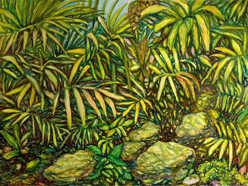 """© 2008 John Rachell Title: Garden, July 5, 2008 Image Size: 48"""" w by 36"""" d Dated: 2008 Medium and Support: Oils on Linen Signed: LR Signature"""