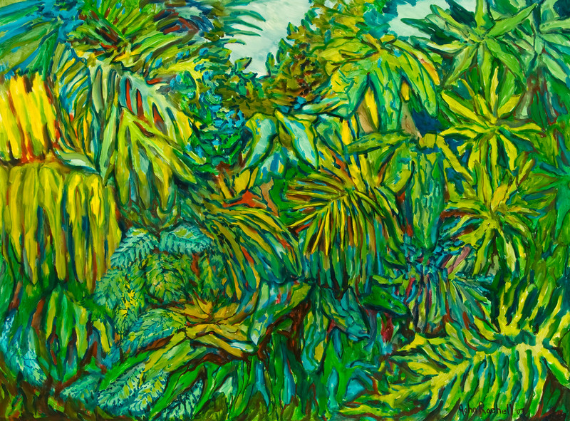 """©John Rachell Title: The Garden, July 27, 2007 Image Size: 48"""" w by 36"""" d Dated: 2007 Medium & Support: Oil paint on canvas Signed: LR Signature"""