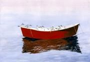 One Red Boat - This boat in Barnstable harbor has been painted many times.  The reflections in the water balance the image.