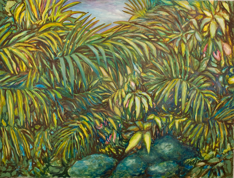 """© 2008 John Rachell Title: Garden, September 26, 2008 Image Size: 48"""" w by 36"""" d Dated: September 26, 2008 Medium and Support: Oils on Linen Signed: LL Signature"""