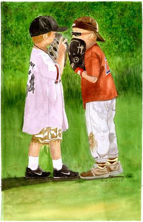 "Talkin' Baseball Two adorable little boys mimicking all the ""big guys"" in baseball."
