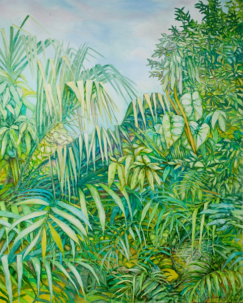 "© 2009 John Rachell Title: Garden September 28, 2009 Image Size: 48"" w by 60"" d Dated: September 28, 2009 Medium & Support: Oil on Canvas Signed: LR Signature"