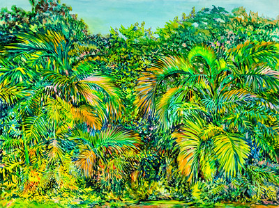 """Title: The Garden, July 14, 2006 ©John Rachell  Image Size: 48"""" w X 36"""" d Dated: 2006 Medium and Support: Oil paint on canvas Signed: LR Signature"""