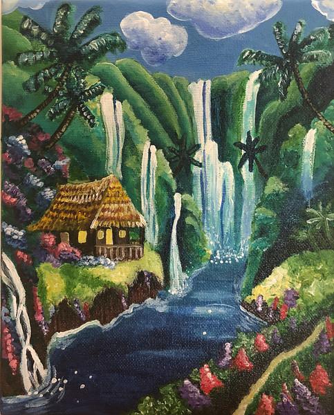 Tropical Waterfall Hut