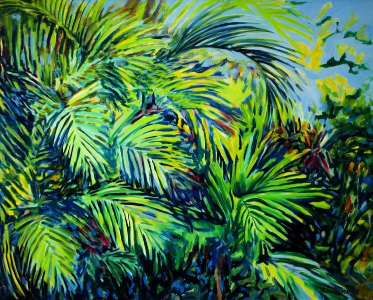 "©John Rachell  Title: The Garden, September 1, 2005  Image: 48""w X 60""d Dated: 2005 Medium & Support: Oil paint on canvas Signed: LR Signature"