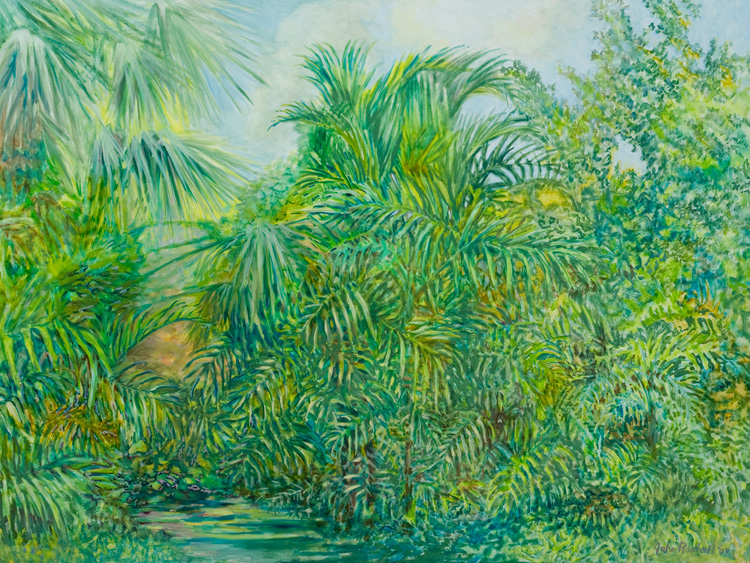 """© 2009 John Rachell Title: Garden, July 15, 2009 Image Size: 48"""" w by 36"""" d Dated: July 15, 2009 Medium & Support: Oils on Linen Signed: LR Signature"""