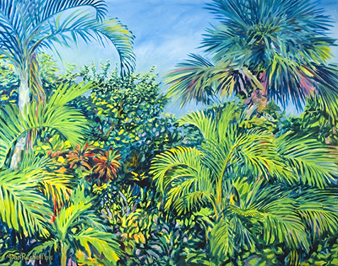 """©John Rachell Title:Garden Series, August 7, 2005 Image Size: 48""""d X 60""""w Dated: 2005 Medium & Support: Oil paint on canvas Signed: LL Signature"""