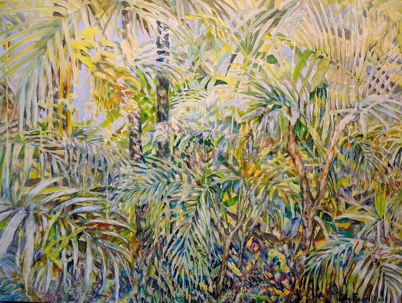 "© 2012 John Rachell Title: Garden, March 17, 2012 Image Size: 40"" W by 30"" D Dated: 2012 Medium and Support: Oil paint on canvas Signed: LR Signature"