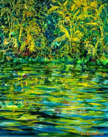 "©John Rachell  Title: Garden, June 2, 2006 Image Size: 24""w X 30""d Date: 2006 Medium & Support: Oil paint on canvas Signed: LR Signature"