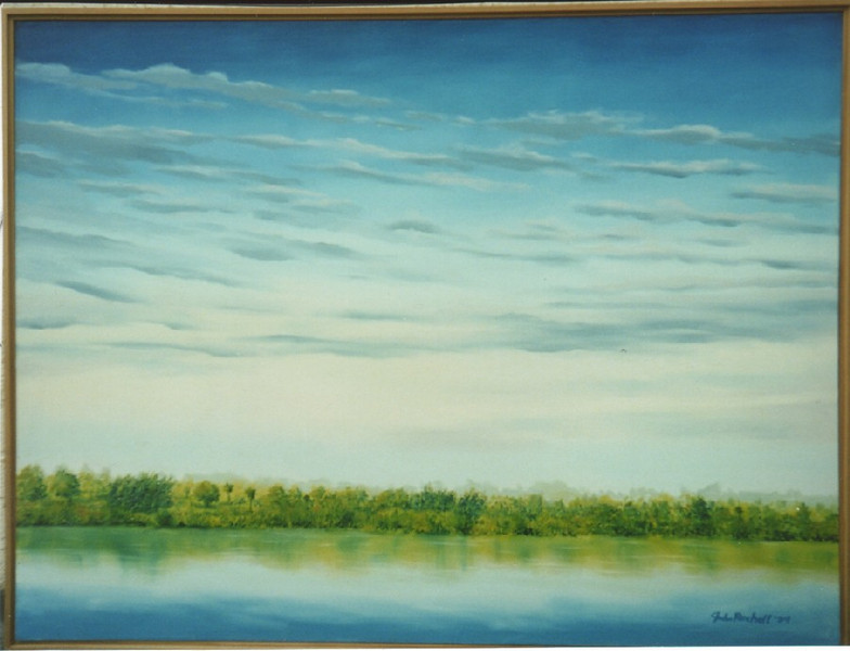 """©John Rachell  Title: Early Morning Lake Worth Image Size: 36""""d X 48""""w Date: 1997 Medium & Support: Oil paint on canvas Signed: LR Signature"""