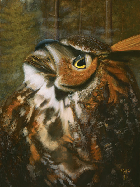 """A portrait of a Great Horned Owl in profile. """"The Horned King III"""", oils on linen birch panel, 24"""" x 18"""", September 2012."""