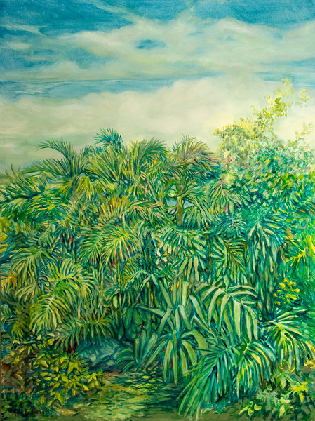 """© 2008 John Rachell Title: Garden, April 7, 2008 Image Size: 36"""" w by 48"""" d Dated: 2008 Medium and Support: Oils on Linen Signed: LL Signature"""