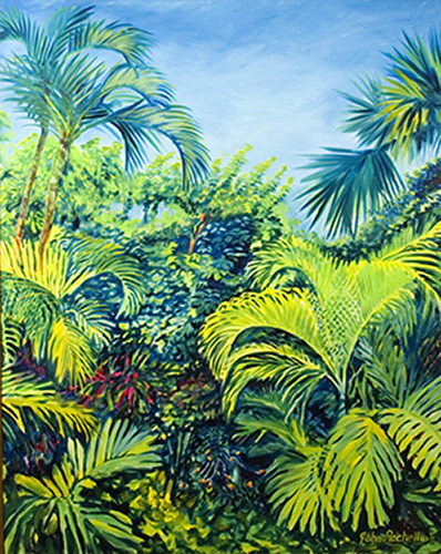 """©John Rachell Title:Garden Series, August 4, 2005 Image Size: 60""""d X 48""""w Dated: 2005 Medium & Support: Oil paint on canvas Signed: LR Signature"""