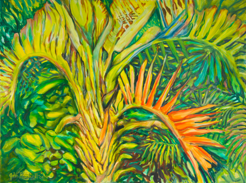 """©John Rachell  Title: The Garden, November 1, 2006 Image Size: 48"""" w by 36"""" d Dated: 2006 Medium and Support: Oil Paint on Canvas Signed: LL Signature"""