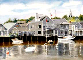 Boats in Nantucket Harbor - The reflections of the boats and the houses were fun to paint.
