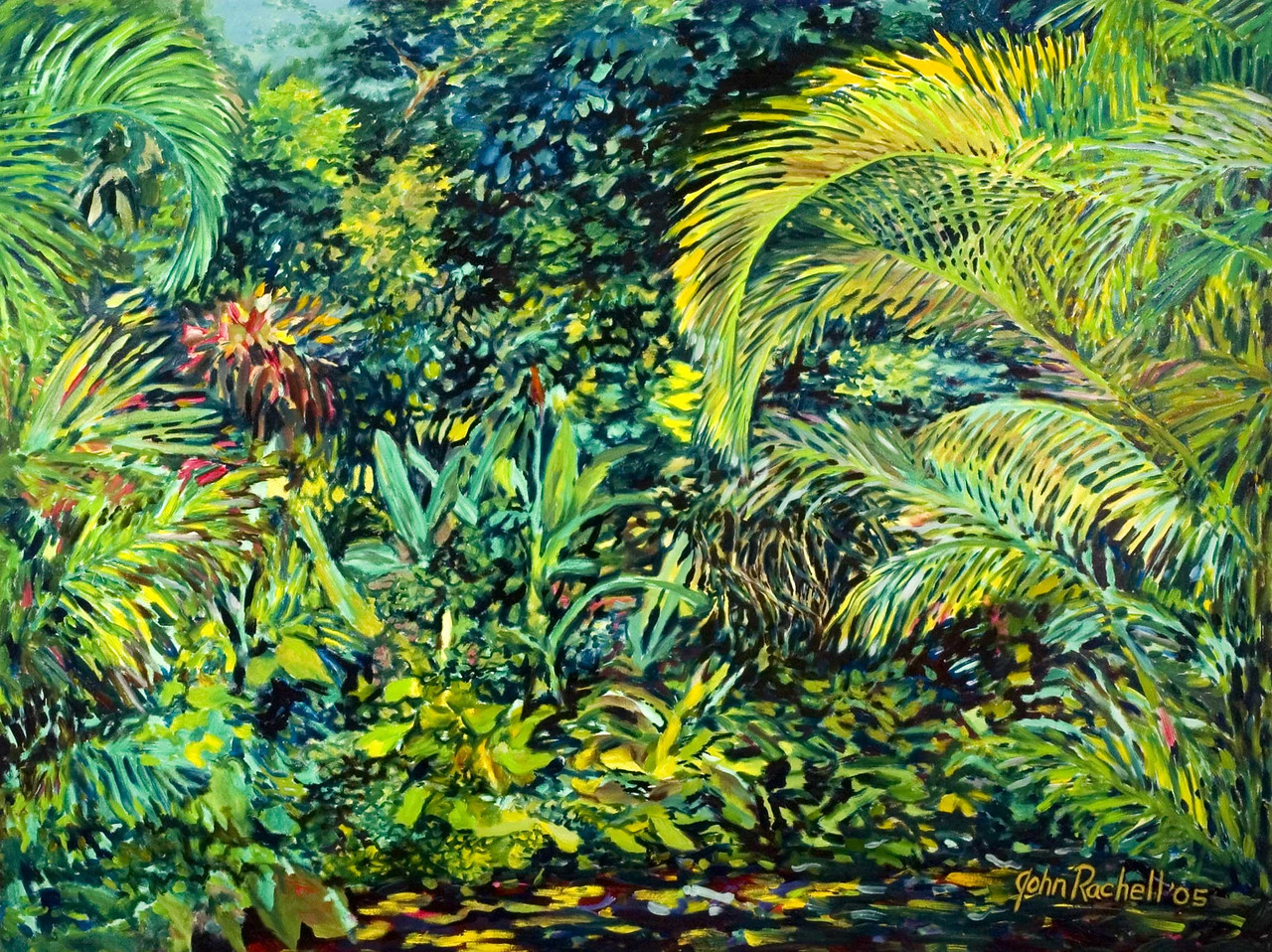 """©John Rachell  Title: The Garden, October 17, 2005 Image: 48""""w X 36""""d Dated: 2005 Medium & Support: Oil paint on canvas Signed: LR Signature"""