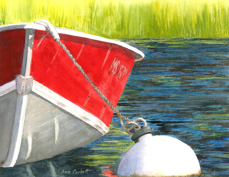 Buoyed Boat - I love the reflections in the water and the semi-abstract look of the image.
