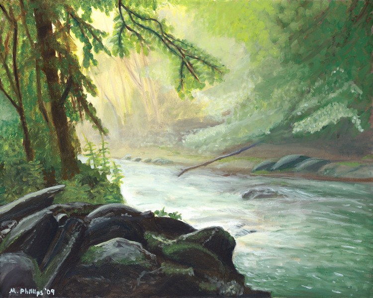 An original oil painting of the Oconaluftee River in Cherokee, NC