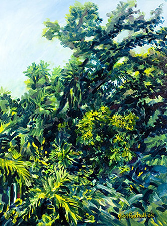 """©John Rachell Title:Garden Series, August 8, 2005 Image Size: 40""""d X 30""""w Dated: 2005 Medium & Support: Oil paint on canvas Signed: LR Signature"""