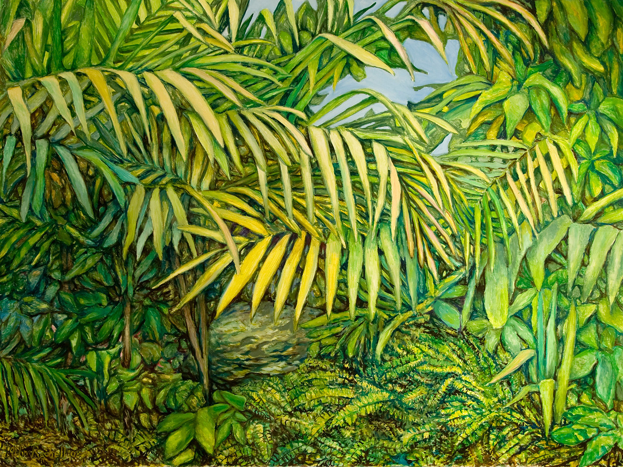"""© 2008 John Rachell Title: Garden, July 14, 2008 Image Size: 48"""" w by 36"""" d Dated: 2008 Medium and Support: Oils on Linen Signed: LL Signature"""