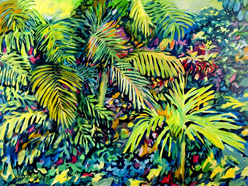 """©John Rachell Title:Garden Series, May 18, 2005 Image Size: 36""""d X 48""""w Dated: 2005 Medium & Support: Oil paint on canvas Signed: LL Signature"""