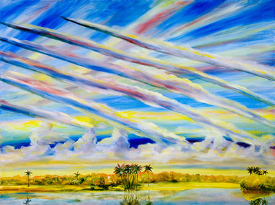"""©John Rachell  Title: The Sky, July 23, 2006 Image Size: 48""""w X 36""""d Date: 2006 Medium & Support: Oil paint on canvas Signed: LR Signature"""