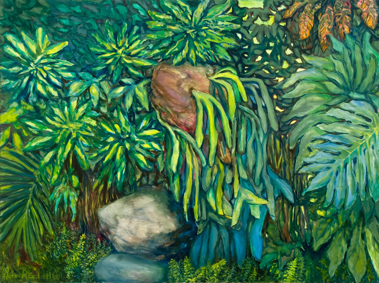 """© 2008 John Rachell Title: Garden, February 22, 2008 Image Size: 48"""" w by 36"""" d Dated: 2008 Medium and Support: Oils on linen Signed: LL Signature"""