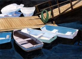 At Rest - A peaceful scene of boats tied up at the dock.