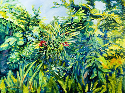 """©John Rachell Title:Garden Series, June 10, 2005 Image Size: 36""""d X 48""""w Dated: 2005 Medium & Support: Oil paint on canvas Signed: LL Signature"""