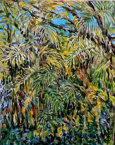 "©John Rachell  Title: Garden Trees Image: 16""w x 20""d Dated: 2014 Medium & Support: Oil paint on canvas Signed: LR Signature"