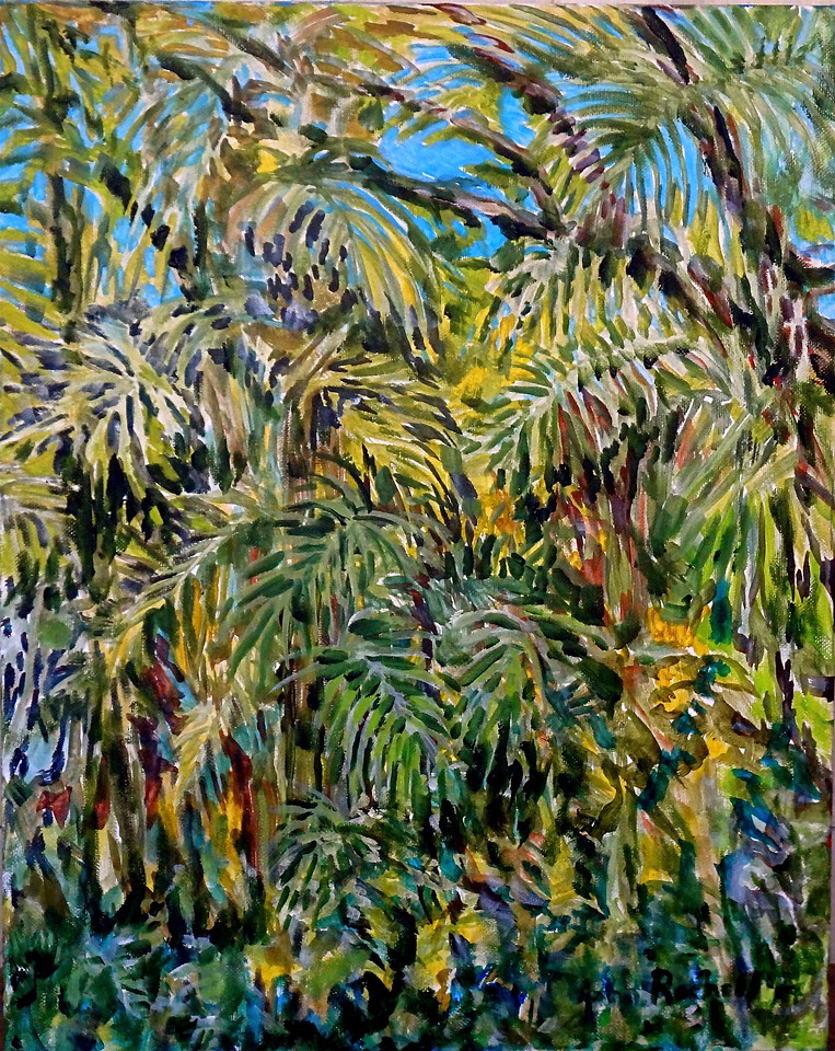 """©John Rachell  Title: Garden Trees Image: 16""""w x 20""""d Dated: 2014 Medium & Support: Oil paint on canvas Signed: LR Signature"""