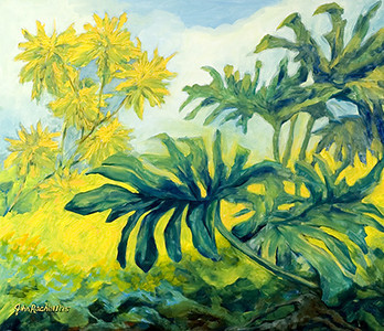 """©John Rachell Title:Garden Series, February 28, 2005 Image Size: 30""""d X 36""""w Dated: 2005 Medium & Support: Oil paint on canvas Signed: LL Signature"""