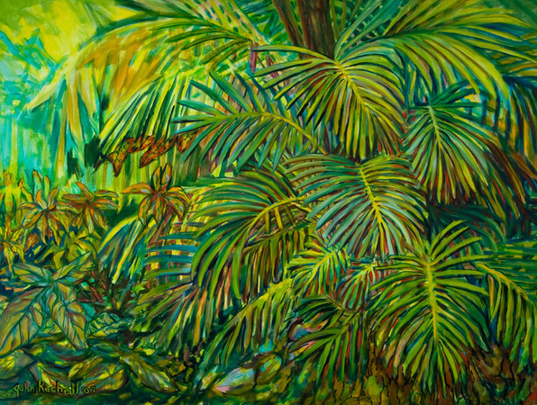 """©John Rachell  Title: The Garden, March 11, 2007 Image: 48""""w X 36""""d Dated: 2007 Medium & Support: Oil paint on canvas Signed: LL Signature"""