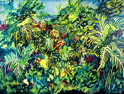"©John Rachell Title:Garden Series, July 25, 2005 Image Size: 36""d X 48""w Dated: 2005 Medium & Support: Oil paint on canvas Signed: LL Signature"