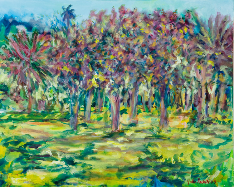 """© 2009 John Rachell Title: Four Arts Garden, May 20, 2009 Image Size: 30"""" w by 24"""" d Dated: May 20, 2009 Medium & Support: Oils on Linen Signed: LR Signature"""