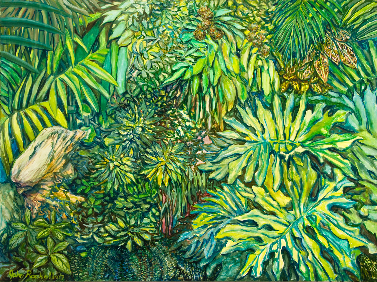 """© 2008 John Rachell Title: Garden, October 26, 2007 Image Size: 48"""" w by 36"""" d Dated: 2007 Medium and Support: Oils on canvas Signed: LL Signature"""