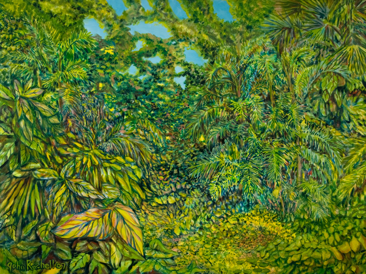 "©John Rachell  Title: The Garden, April 29, 2007 Image Size: 48"" w by 36"" d Dated: 2007 Medium and Support: Oil Paint on canvas Signed: LL Signature"