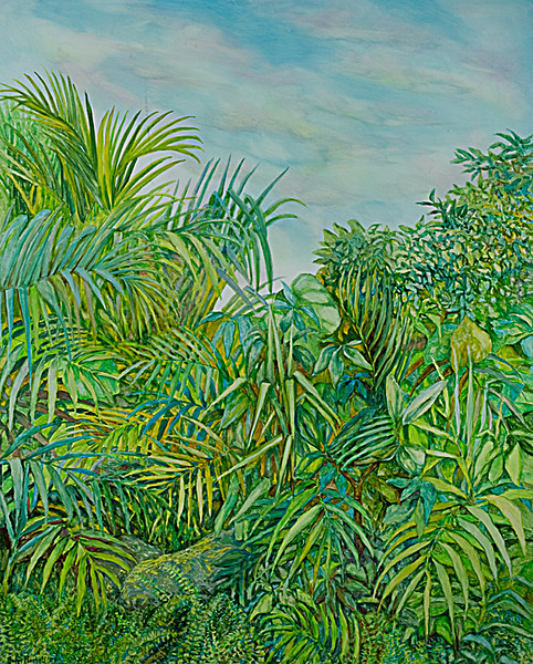 """© 2010 John Rachell Title:  Garden, November 9, 2009 Image Size:  48"""" w by 60"""" d Dated:  November 9, 2009 Medium & Support:  Oil on Canvas Signed: LL Signature"""