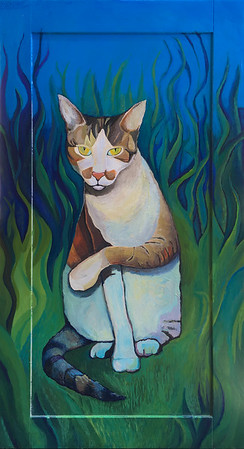Jasper in the Yard, acrylic on wood