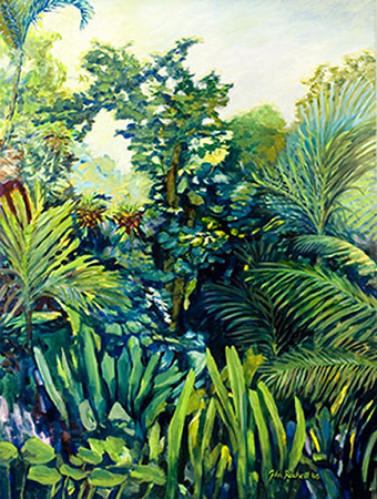 "©John Rachell Title:Garden Series, April 18, 2005 Image Size: 48""d X 36""w Dated: 2005 Medium & Support: Oil paint on canvas Signed: LR Signature"