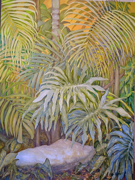 "©John Rachell  Title: Ann's Garden Stone Image: 30""w x 40""d Dated: 2014 Medium & Support: Oil paint on canvas Signed: LR Signature"