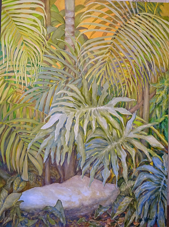 "©John Rachell  Title: Ann's Garden Stone Image: 30""w x 40""d Dated: 2014 Medium & Support: Oil paint on canvas Signed: LR Signature"