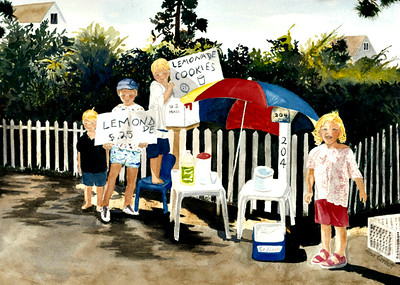 Lemonade Stand - I met these children on my walk and asked them to pose for me.  As you can see, they were delighted!