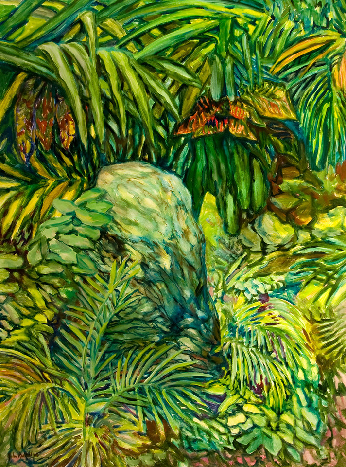 """© 2008 John Rachell Title: Garden, April 25, 2008 Image Size: 36"""" w by 48"""" d Dated: 2008 Medium and Support: Oils on Linen Signed: LL Signature"""